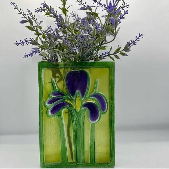 Vintage FTD Applied Iris Textured Glass Block Vase